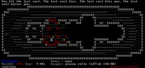 Blutbad in ASCII. Doom-Veteranen sollten auch den Level erkennen.